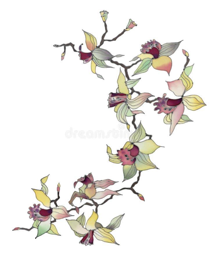 Ramificación de la orquídea aislada ilustración del vector