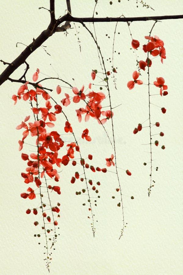 Ramificación del flor rojo en el papel hecho a mano ilustración del vector