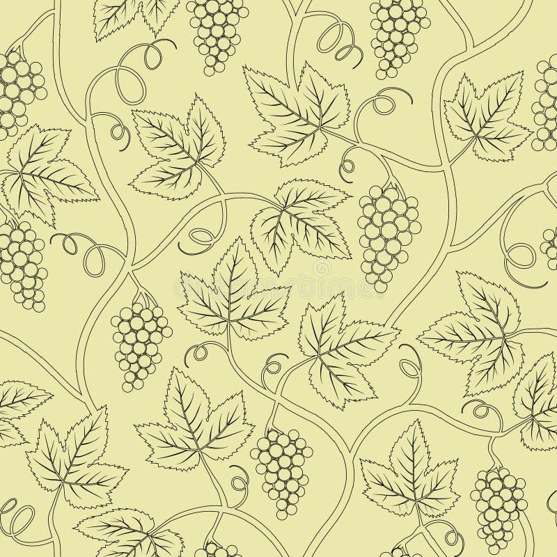 Ramificación negra de la uva de la silueta inconsútil libre illustration