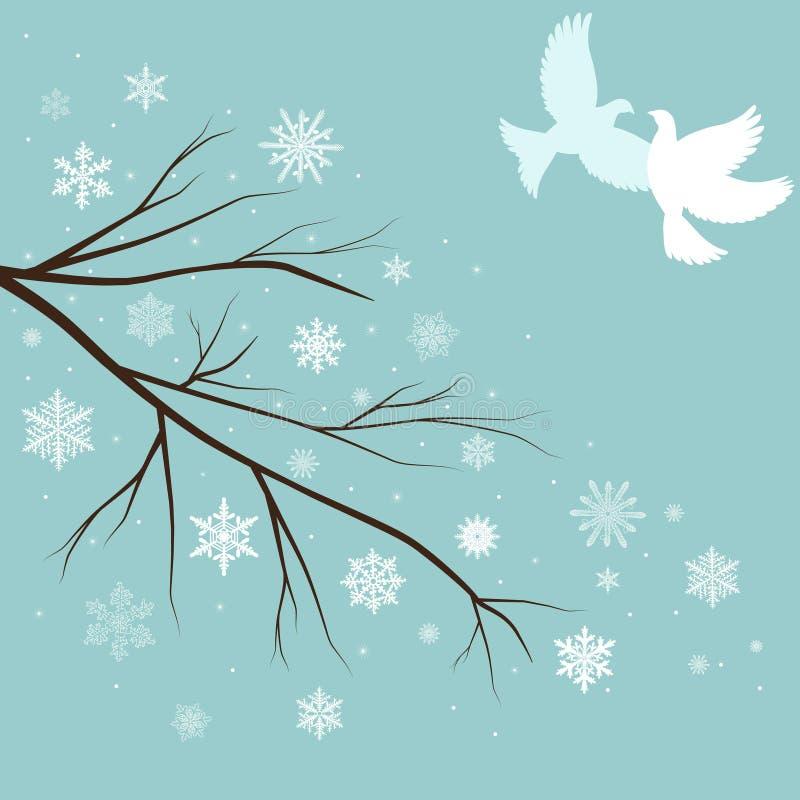 ramificaciones de la nieve con los pájaros stock de ilustración