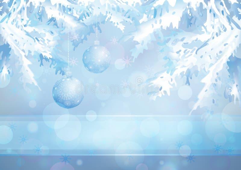 Ramificaciones del árbol de navidad y bolas de cristal en el azul stock de ilustración