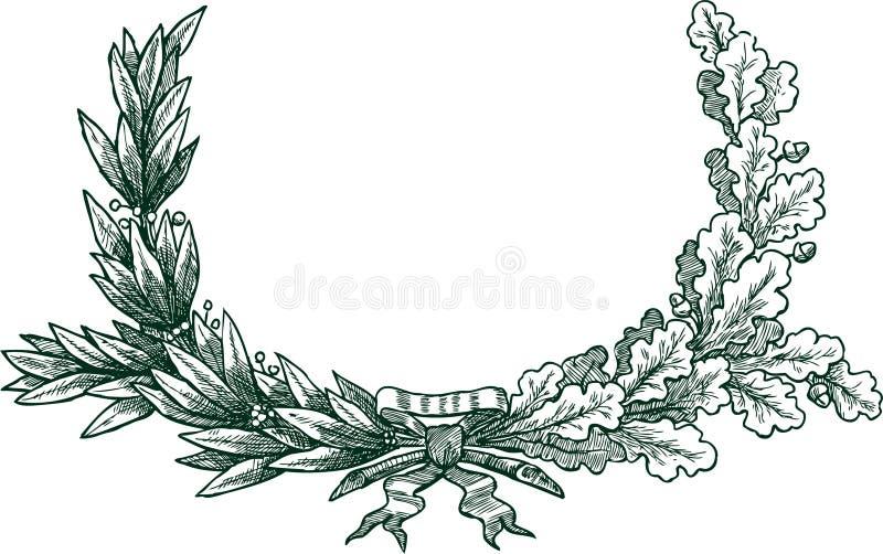 Ramificaciones del laurel y del roble ilustración del vector