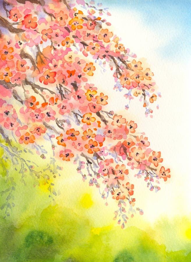 Ramificaciones florecientes Fondo del Watercolour ilustración del vector