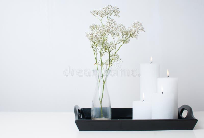 Ramifichi in vaso e quattro candele bianche fotografia stock
