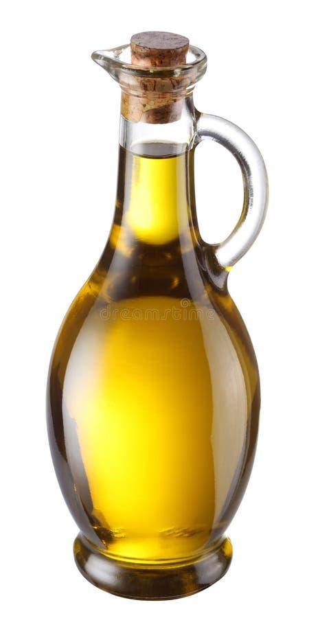 Ramifique com azeitonas e um frasco do petróleo verde-oliva fotografia de stock