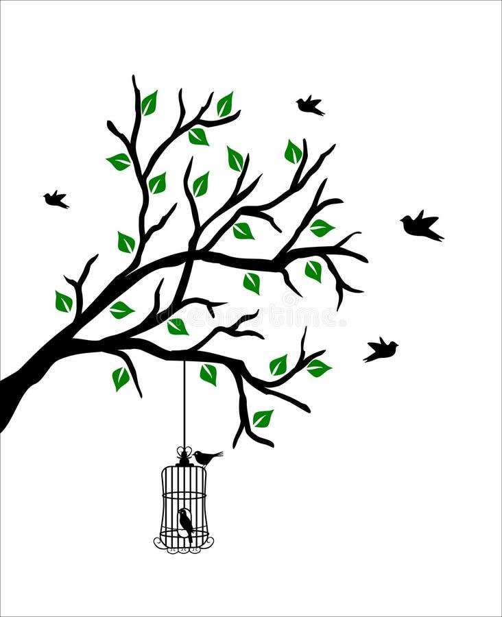 Ramifique com birdcage ilustração stock