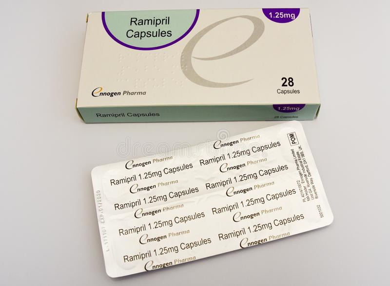 Ramipril capsules. 1,25mg medication pack of pills. Box of medical tablets isolated on a white background. Manufactured by Ennogen Pharma. British royalty free stock image