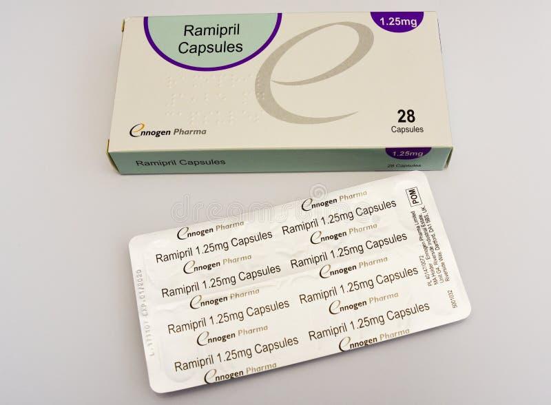 Ramipril kapsuły 1,25mg lekarstwa paczka pigułki obraz royalty free