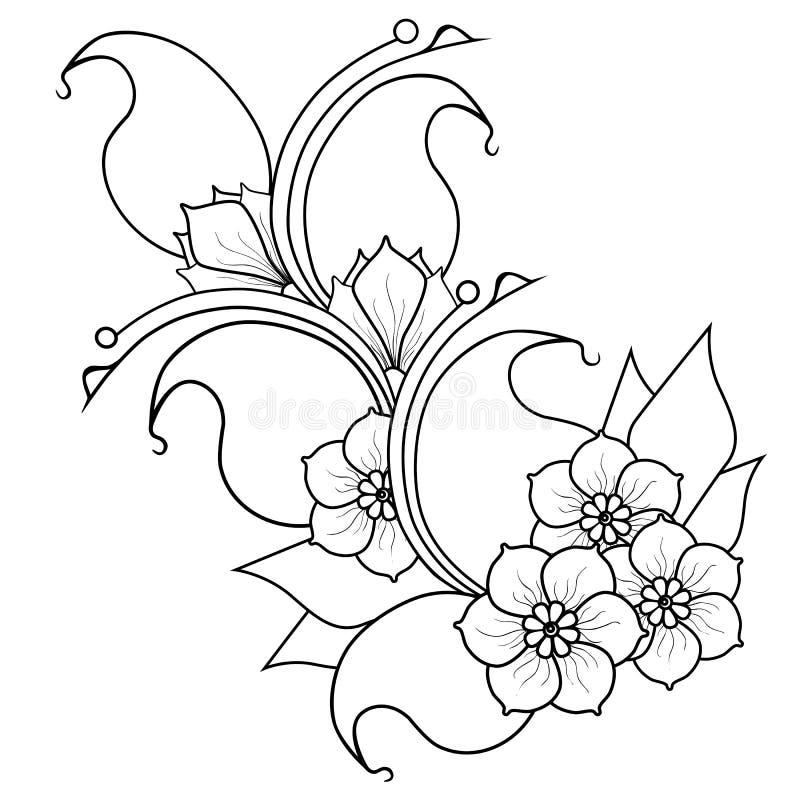 Ramita abstracta con las flores Versión blanco y negro stock de ilustración