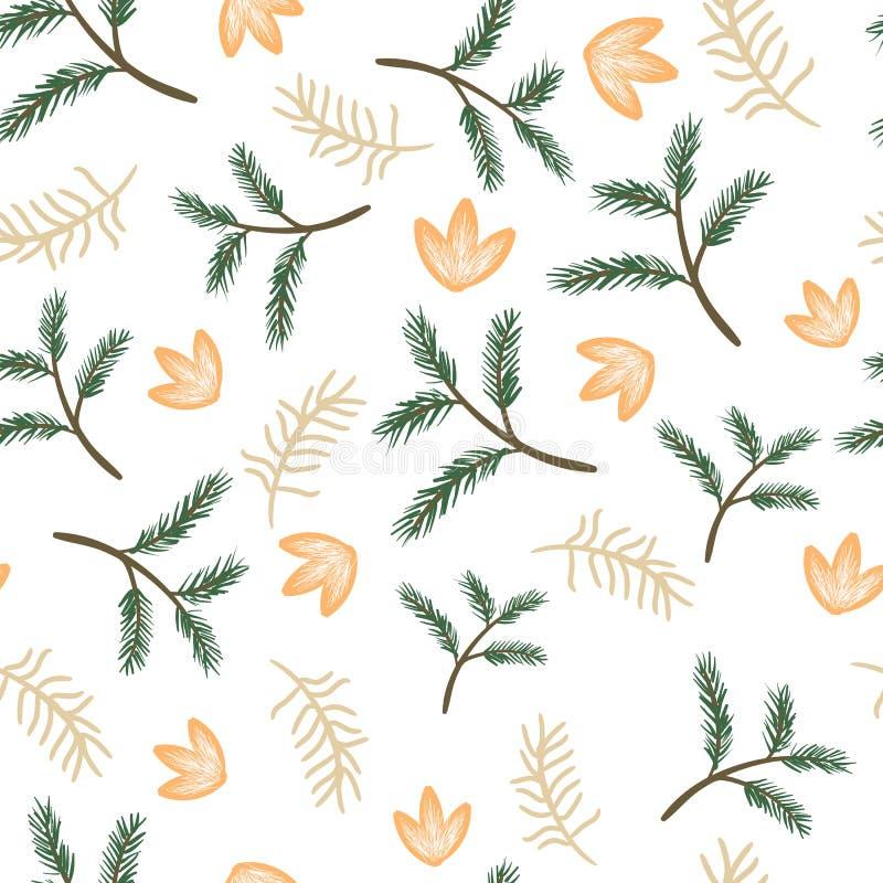 Ramitas y flores inconsútiles del pino del modelo fotografía de archivo libre de regalías