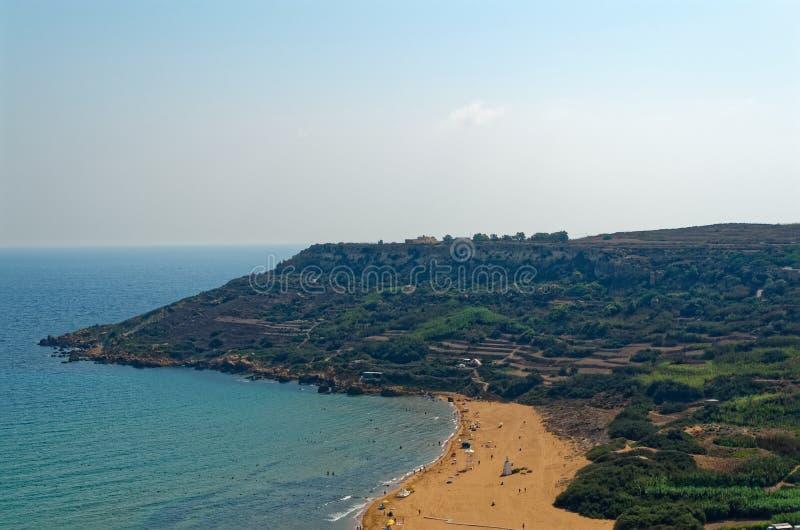 Ramla bay - sandy beach on the island Gozo, Malta. Ramla bay - a beautiful sandy beach on the island Gozo, Malta royalty free stock photos