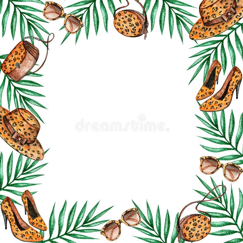 Ramleopard och tropiska sidor royaltyfri illustrationer