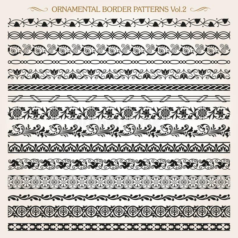 Ramlinjen tappning för den dekorativa gränsen mönstrar vektor 2 vektor illustrationer