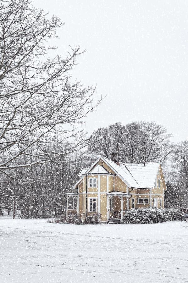 Ramlosa brunnspark房子在冬天 库存照片