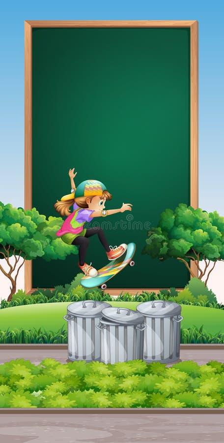 Download Rammall Med Flickan På Skateboarden Vektor Illustrationer - Illustration av utomhus, barn: 78731703