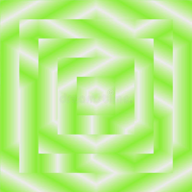 Rammodellen kvadrerar retro bakgrund med ljus - gröna strålar och vit för springcard eller baner royaltyfri illustrationer