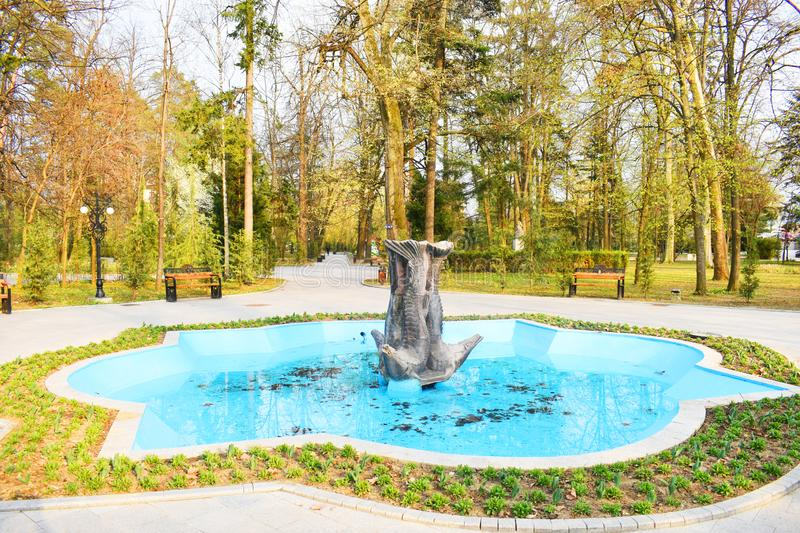 Ramnicu Valcea, Romania 02.04.2019 - The beautiful Zavoi Park in a spring sunny day.  royalty free stock image