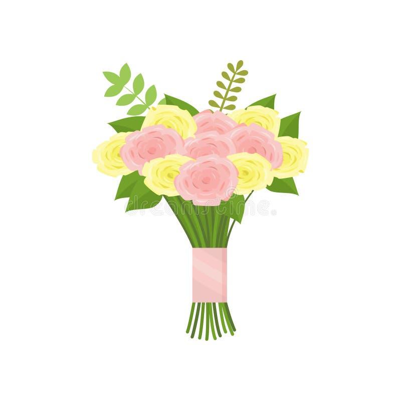 Ramo agradable de rosa y de rosas amarillas atados con la cinta en fondo vac?o ilustración del vector