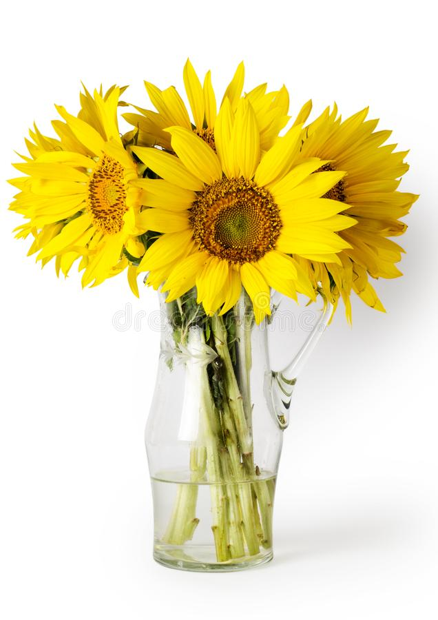 Ramo amarillo brillante en el florero aislado en blanco foto de archivo libre de regalías