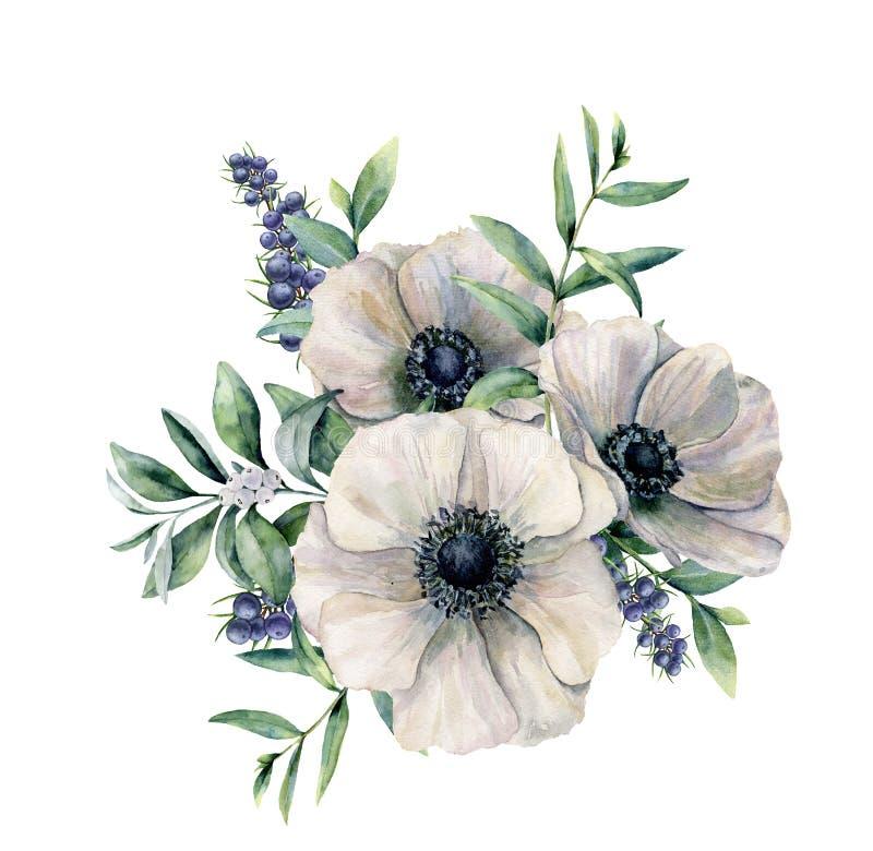 Ramo blanco de la anémona y de la baya de la acuarela Flor pintada a mano, hojas del eucalipto, baya blanca y enebro aislados enc ilustración del vector