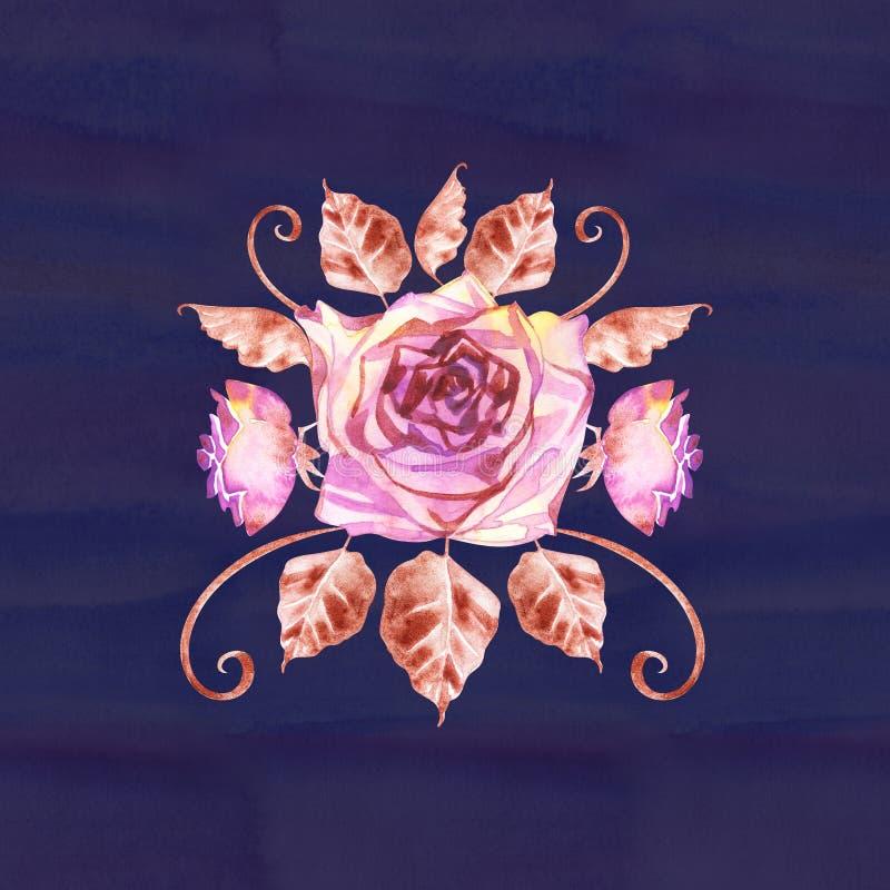 Ramo bohemio de la flor con las rosas La composici?n decorativa para casarse la invitaci?n y ahorra la tarjeta de fecha watercolo stock de ilustración