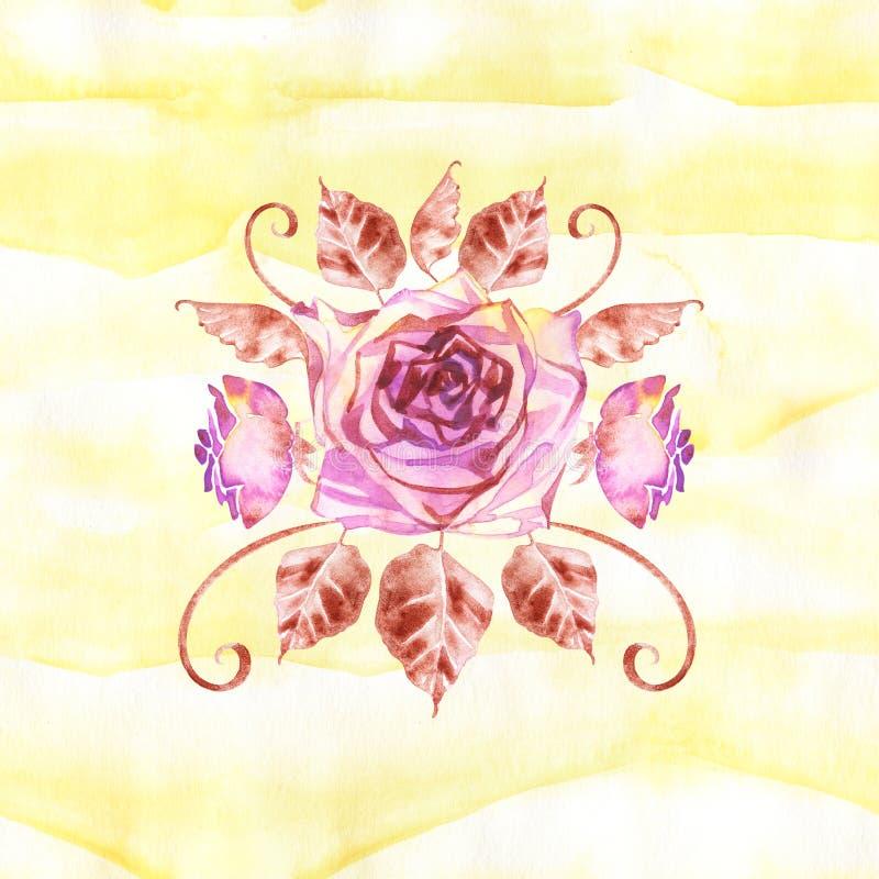 Ramo bohemio de la flor con las rosas La composici?n decorativa para casarse la invitaci?n y ahorra la tarjeta de fecha watercolo ilustración del vector