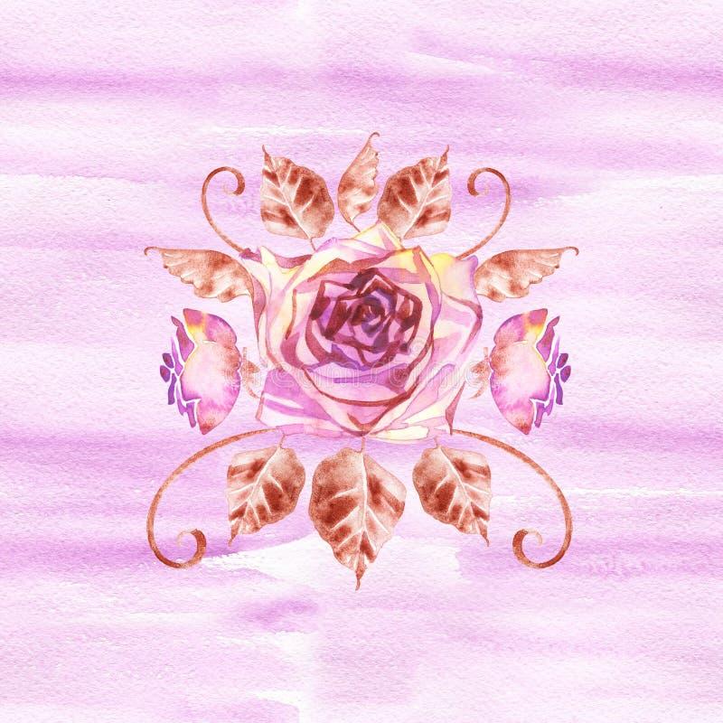 Ramo bohemio de la flor con las rosas La composici?n decorativa para casarse la invitaci?n y ahorra la tarjeta de fecha watercolo libre illustration