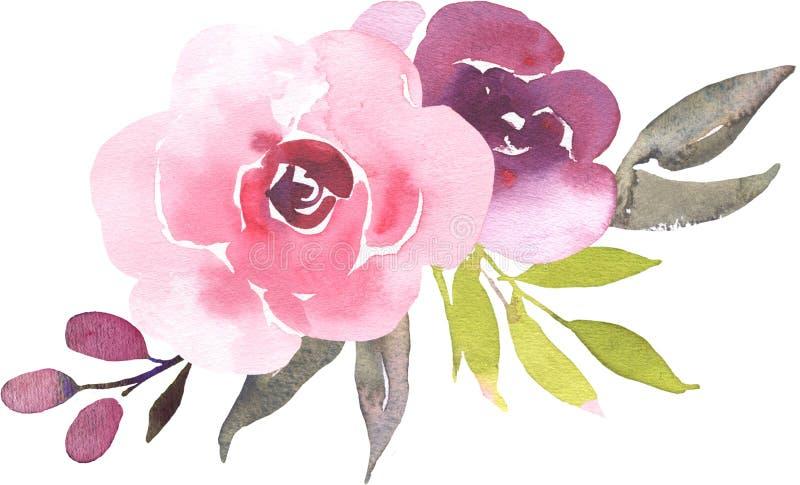 Ramo bohemio de la flor con las rosas La composición decorativa para casarse la invitación y ahorra la tarjeta de fecha stock de ilustración