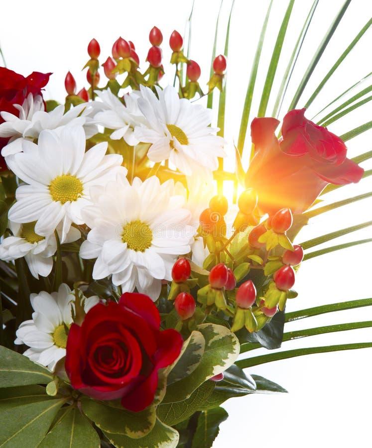 Ramo brillante con las manzanillas y las rosas fotos de archivo