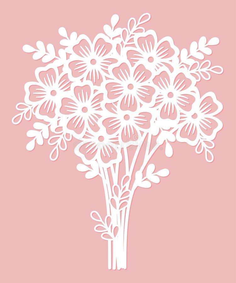 Ramo a cielo abierto de flores Plantilla de corte del laser ilustración del vector