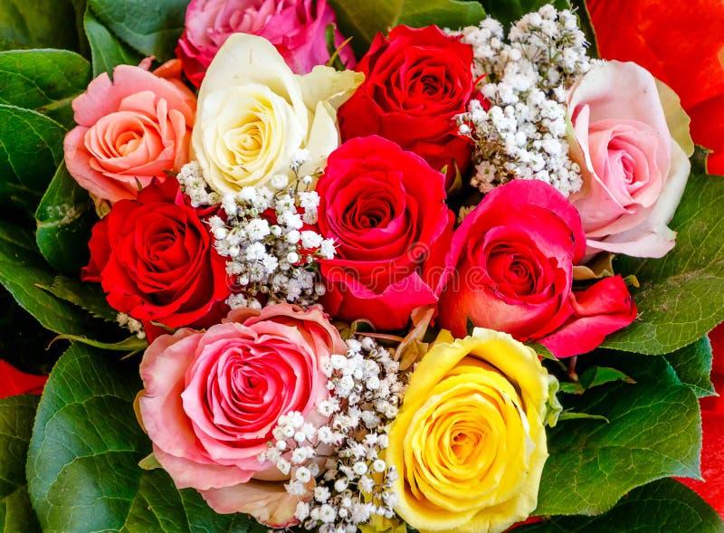 Ramo colorido de rosas imagenes de archivo