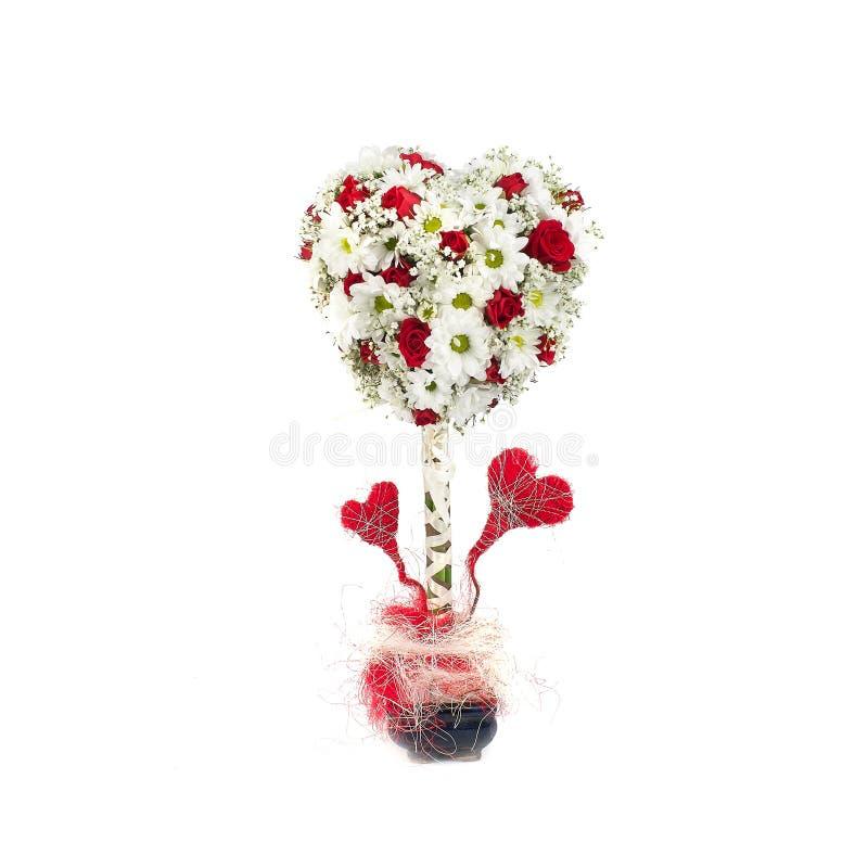Ramo con las rosas blancas y crisantemo en un estilo aislado fotos de archivo