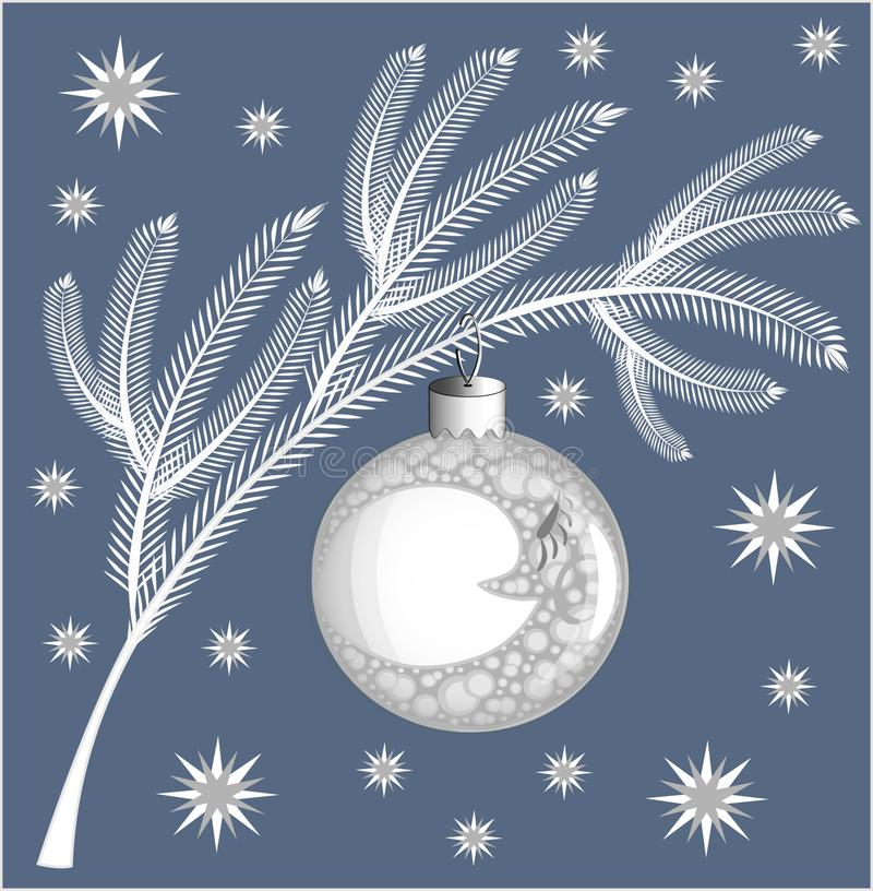 Ramo conifero bianco dell'Natale-albero su un fondo blu con un giocattolo dell'Natale-albero sotto forma di palla con l'immagine  royalty illustrazione gratis