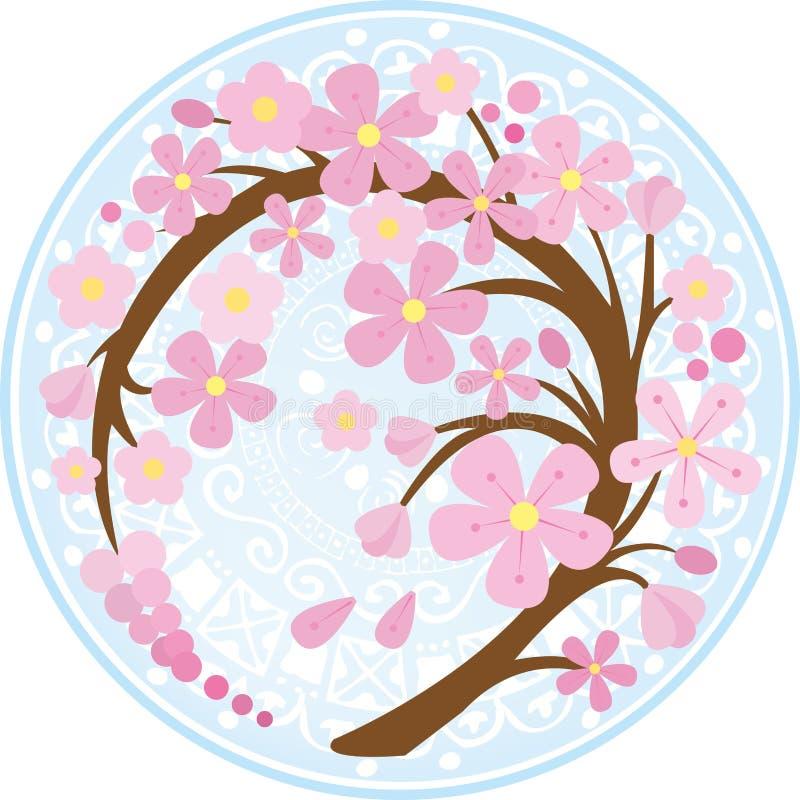 Ramo curvado de sakura ilustração stock