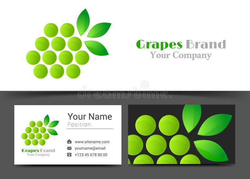 Ramo da uva com folhas Logotipo incorporado e cartão ilustração royalty free
