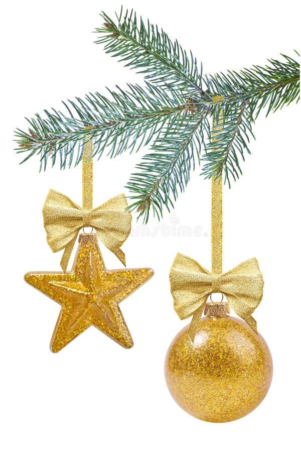 Ramo de árvore do Natal com decoração foto de stock royalty free
