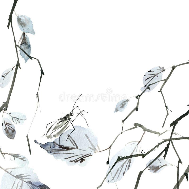 Ramo de árvore do vidoeiro com inseto ilustração do vetor