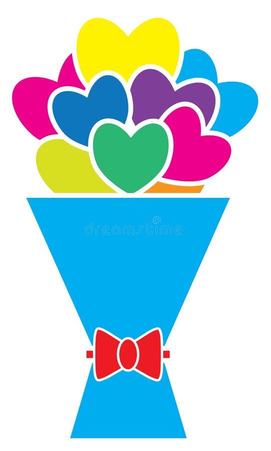 Ramo de corazones o de flores en forma de corazón con un arco libre illustration