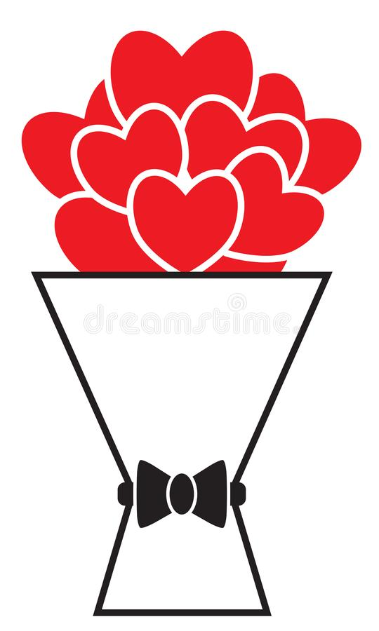 Ramo de corazones rojos o de flores en forma de corazón con un arco libre illustration