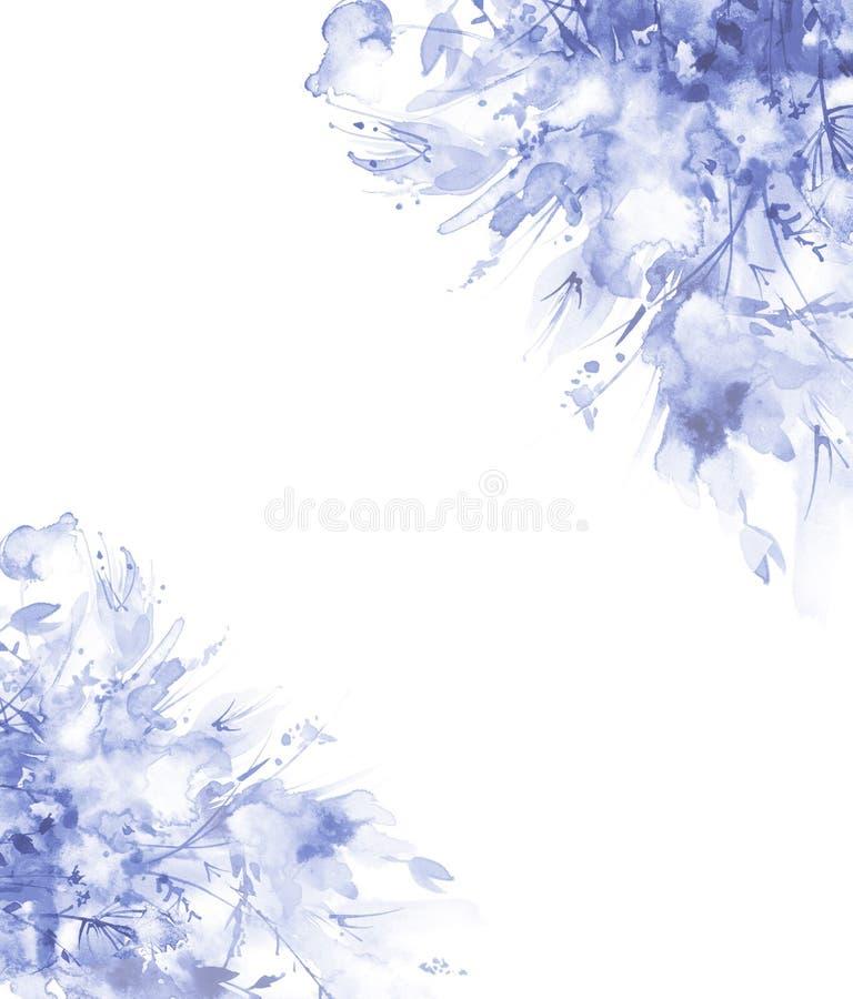 Ramo de flores, chapoteo abstracto hermoso de la acuarela de la pintura, ejemplo de la moda Flores de la orqu?dea, amapola, acian stock de ilustración