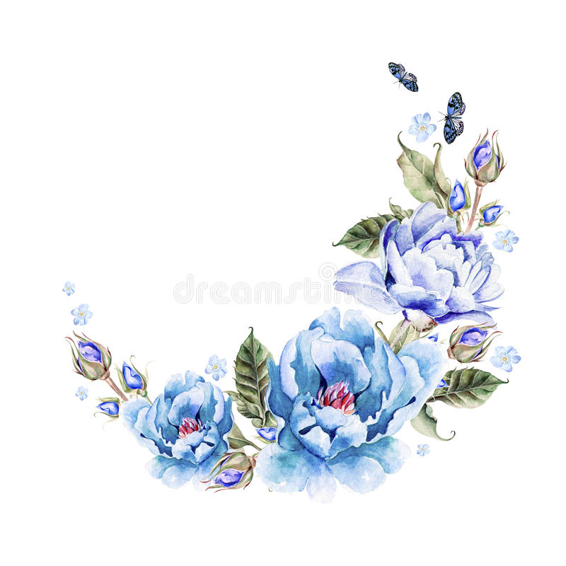 Ramo de flores de la peonía watercolor ilustración del vector