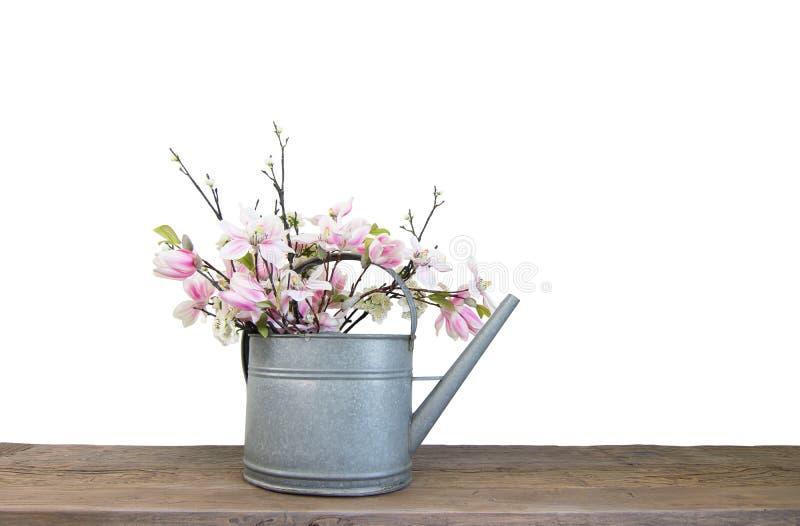 Ramo de flores en poder de riego foto de archivo libre de regalías