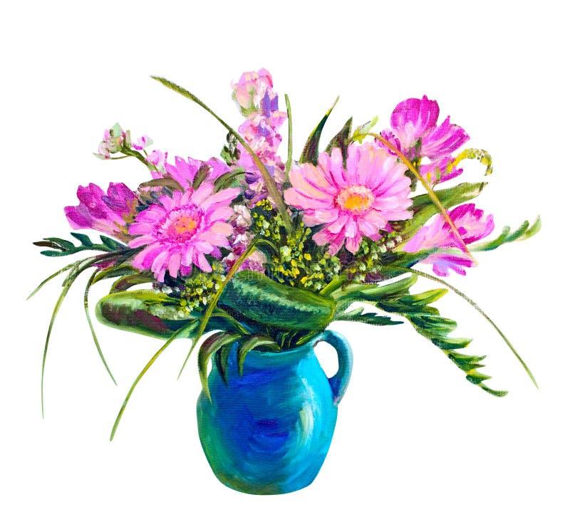 Ramo de flores en un florero stock de ilustración