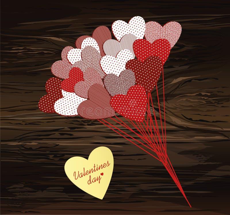 Ramo de flores en una forma del corazón y una etiqueta engomada amarilla para el día de tarjeta del día de San Valentín Ilustraci ilustración del vector