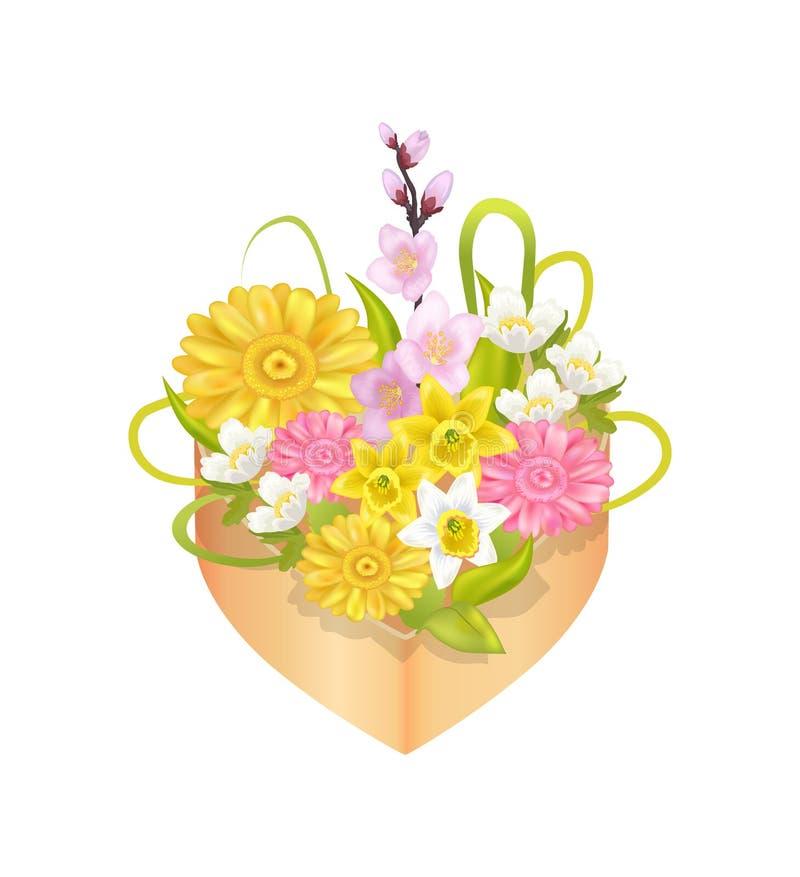 Ramo de flores de la primavera en caja de la decoración de la forma del corazón ilustración del vector