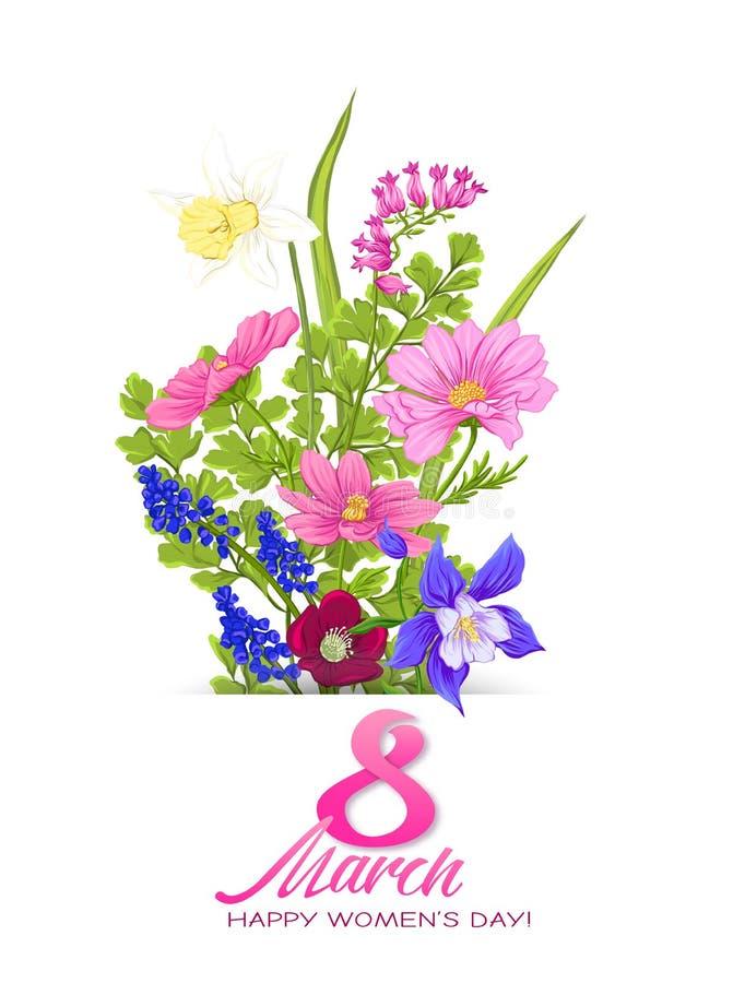 Ramo de flores de la primavera para el 8 de marzo Ejemplo realista colorido del vector stock de ilustración