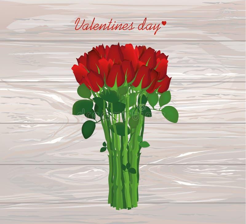 Ramo de flores rojas Rosas atadas con una cuerda Tarjeta de felicitación FO stock de ilustración