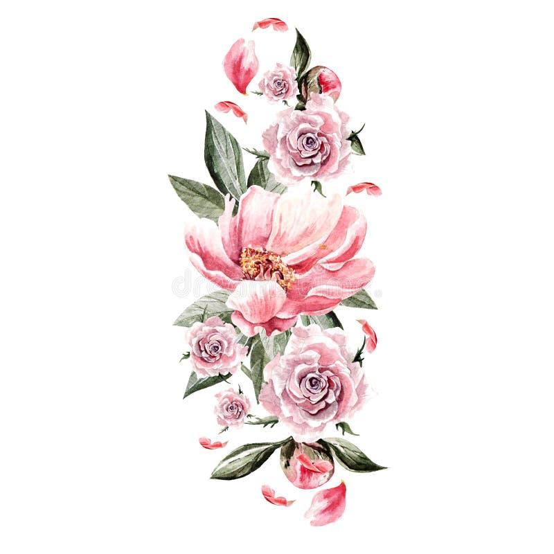 Ramo de flores y de rosas de la peonía watercolor ilustración del vector