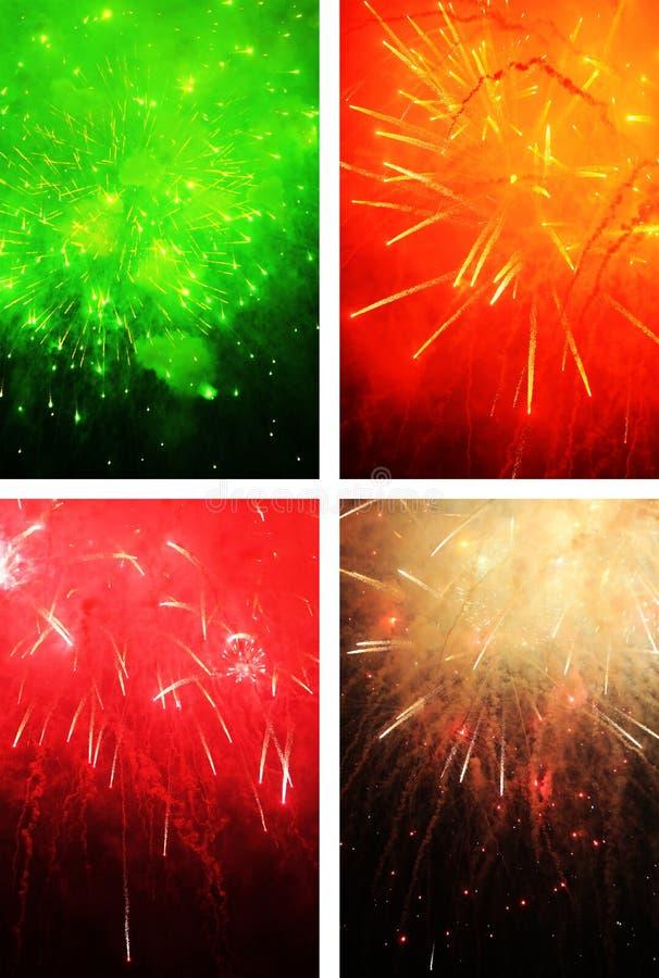 Ramo de fuegos artificiales múltiples que estallan en toda clase de formas y de colores imágenes de archivo libres de regalías
