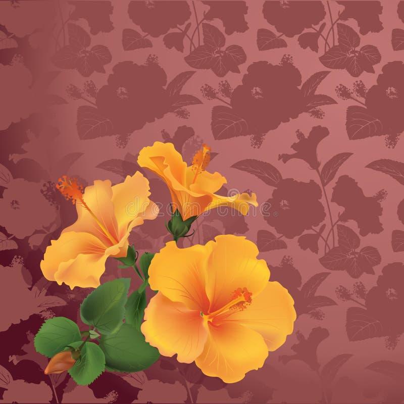 Ramo de hibisco en fondo floral inconsútil stock de ilustración
